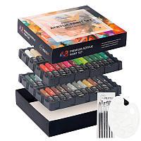Набор 55 предметов акриловые краски 48 цветов + 6 кисточек + палитра Art Planet