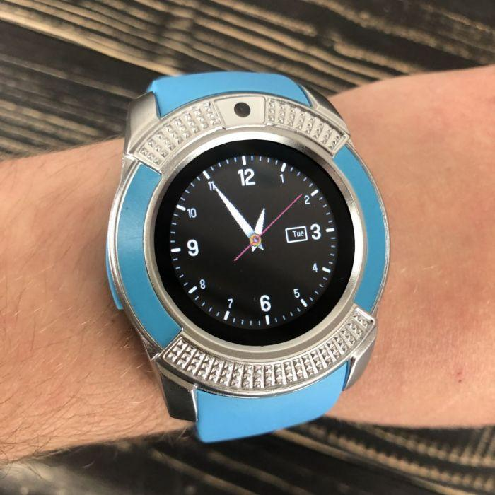 Смарт годинник Smart Watch V8 жіночі круглі смарт годинник з сім картою камерою смарт вотч в8 часи блакитні