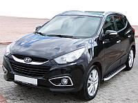 Hyundai IX-35 2010-2015 гг. Боковые пороги BlackLine (2 шт, алюминий)