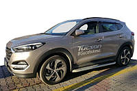 Hyundai Tucson TL 2016↗ гг. Боковые пороги Tayga Grey (2 шт., алюминий)