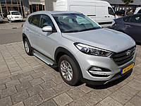 Hyundai Tucson TL 2016↗ гг. Боковые пороги Allmond Grey (2 шт., алюминий)