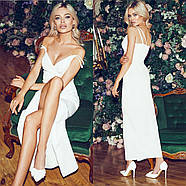 Нарядне жіноче плаття з розрізом і красивим декольте, 00841 (Білий), Розмір 42 (S), фото 3