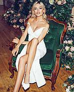 Нарядне жіноче плаття з розрізом і красивим декольте, 00841 (Білий), Розмір 42 (S), фото 5