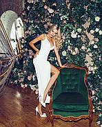 Нарядне жіноче плаття з розрізом і красивим декольте, 00841 (Білий), Розмір 42 (S), фото 6