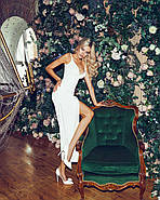 Нарядное женское платье с разрезом и красивым декольте, 00841 (Белый), Размер 42 (S), фото 6