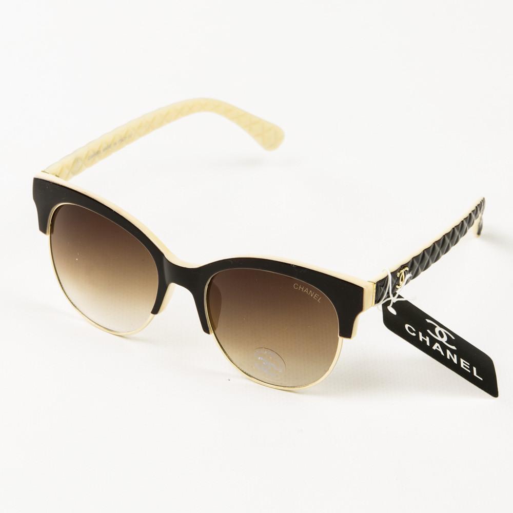 Оптом брендовые очки солнцезащитные женские Chanel - коричневые с бежевым - 2846
