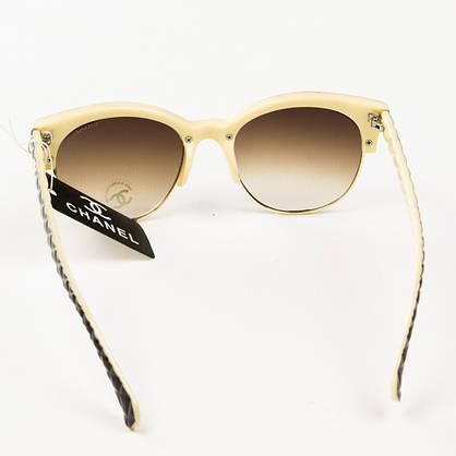 Оптом брендовые очки солнцезащитные женские Chanel - коричневые с бежевым - 2846, фото 3