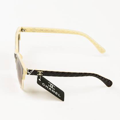 Оптом брендовые очки солнцезащитные женские Chanel - коричневые с бежевым - 2846, фото 2