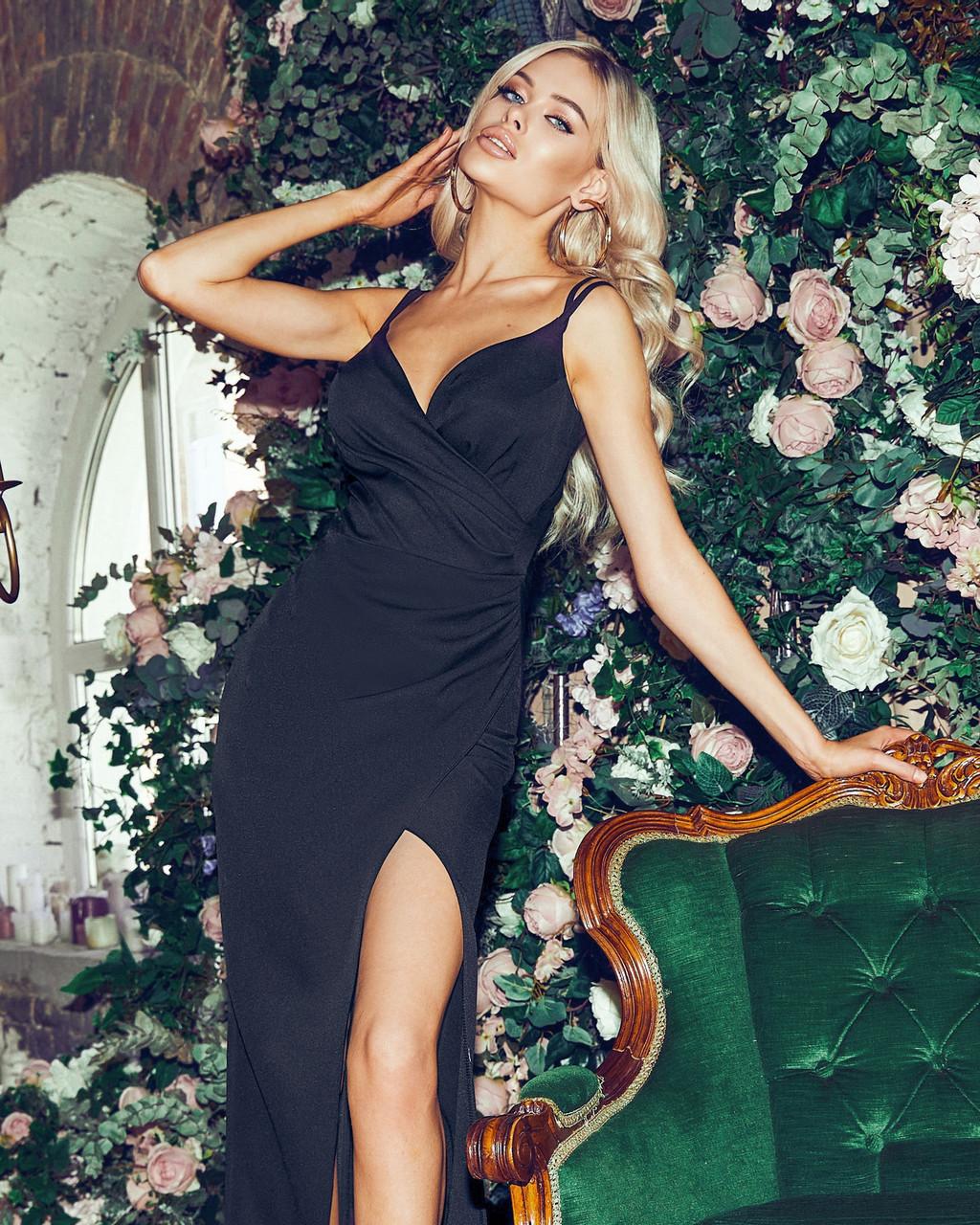 Романтичное женское платье длина миди на тонких бретельках, 00842 (Черный), Размер 44 (M)