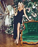 Романтичное женское платье длина миди на тонких бретельках, 00842 (Черный), Размер 44 (M), фото 2
