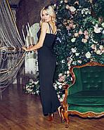 Романтичное женское платье длина миди на тонких бретельках, 00842 (Черный), Размер 44 (M), фото 4