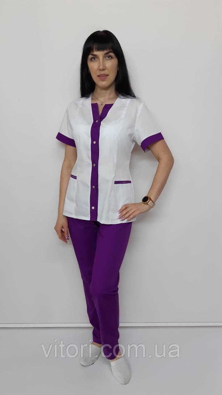 Медичний жіночий халат Сану бавовна короткий рукав