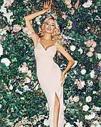 Приталене плаття на тонких бретелях з гарним розрізом збоку, 00843 (Персиковий), Розмір 46 (L), фото 5