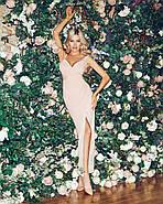 Приталене плаття на тонких бретелях з гарним розрізом збоку, 00843 (Персиковий), Розмір 46 (L), фото 6