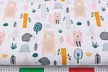 """Лоскут ткани хлопковой """"Розовая лисичка, бежевый медведь и ёжик"""" (№2569), размер 30*80 см, фото 3"""
