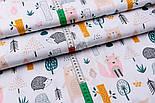 """Лоскут ткани хлопковой """"Розовая лисичка, бежевый медведь и ёжик"""" (№2569), размер 30*80 см, фото 4"""