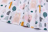"""Лоскут ткани хлопковой """"Розовая лисичка, бежевый медведь и ёжик"""" (№2569), размер 30*80 см, фото 5"""