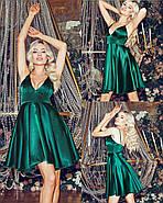Коктейльне плаття з красивим декольте на тонких бретельках, 00844 (Пляшковий), Розмір 44 (M), фото 3