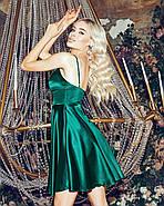 Коктейльне плаття з красивим декольте на тонких бретельках, 00844 (Пляшковий), Розмір 44 (M), фото 4