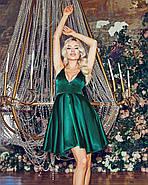 Коктейльне плаття з красивим декольте на тонких бретельках, 00844 (Пляшковий), Розмір 44 (M), фото 5