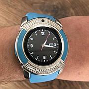 Смарт часы Smart Watch V8 женские круглые смарт часы с сим картой камерой смарт вотч в8 часи голубые