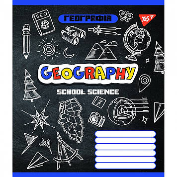 Зошит 48арк. кліт. YES Предметка- Географія (Doodle board) виб.гібрид,лак №764847(5)