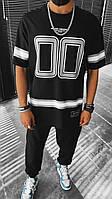 Мужская стильная футболка черная с принтом