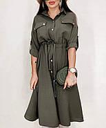 Легкое стильное платье, длина рукава регулируется, 00857 (Хаки), Размер 42 (S), фото 2
