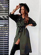 Легкое стильное платье, длина рукава регулируется, 00857 (Хаки), Размер 42 (S), фото 3