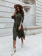 Легкое стильное платье, длина рукава регулируется, 00857 (Хаки), Размер 42 (S), фото 4