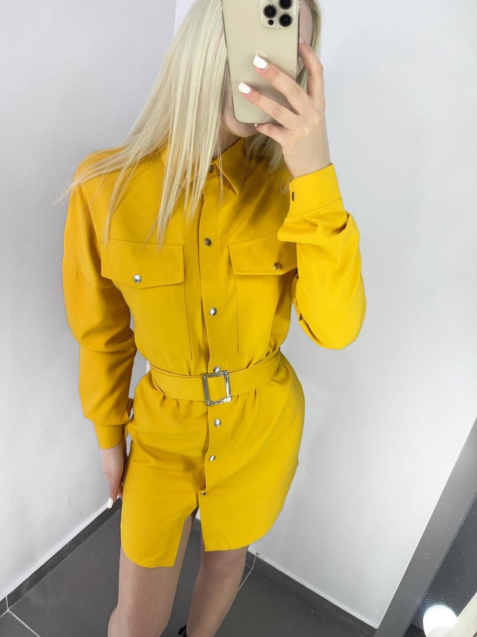 Стильне і модне плаття з широким поясом, довгий рукав з манжетом, 00858 (Жовтий), Розмір 42 (S)