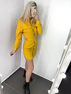 Стильне і модне плаття з широким поясом, довгий рукав з манжетом, 00858 (Жовтий), Розмір 42 (S), фото 2