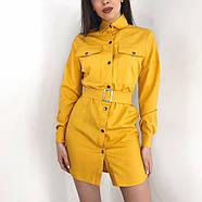 Стильне і модне плаття з широким поясом, довгий рукав з манжетом, 00858 (Жовтий), Розмір 42 (S), фото 4