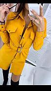 Стильне і модне плаття з широким поясом, довгий рукав з манжетом, 00858 (Жовтий), Розмір 42 (S), фото 5
