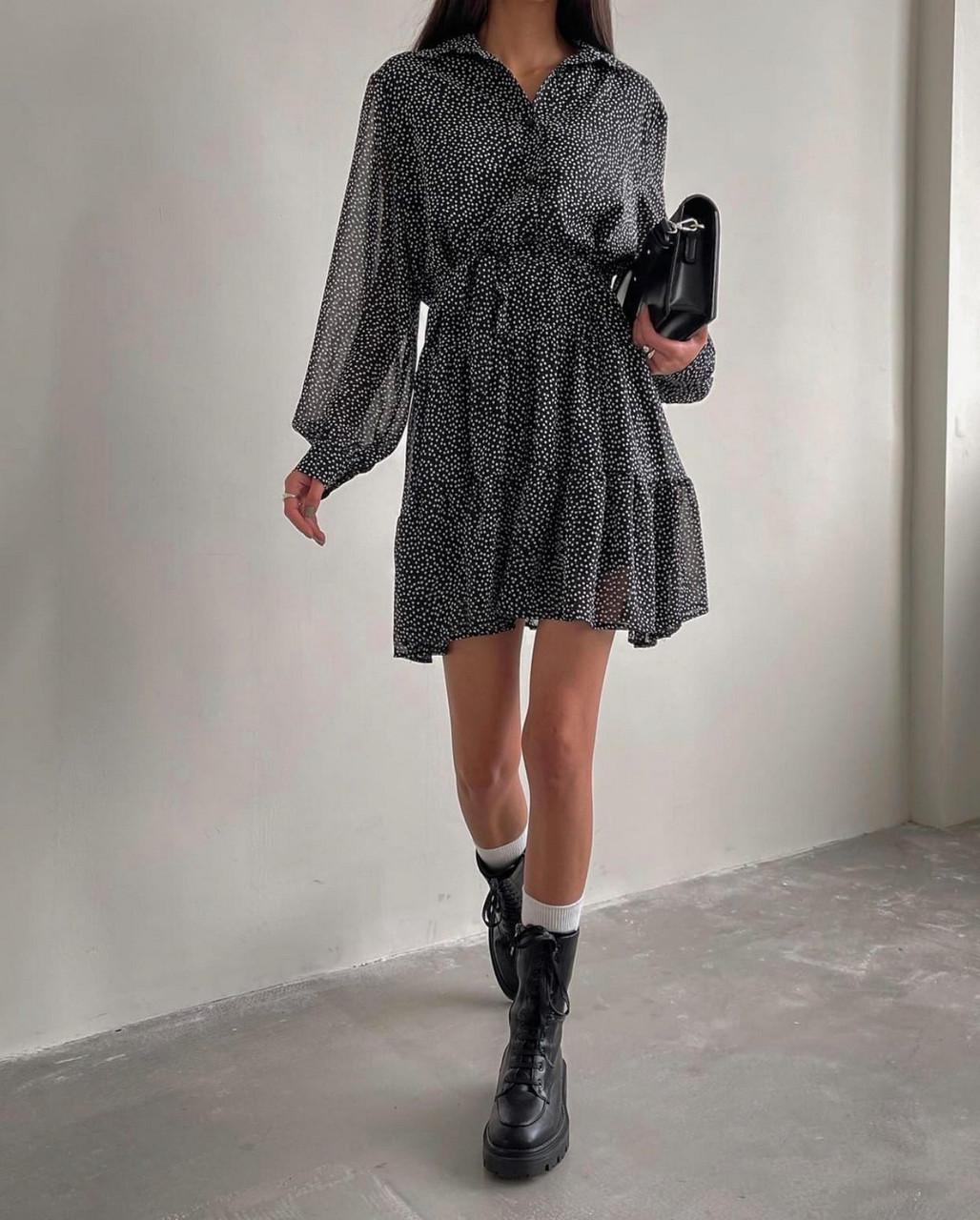 Ультрамодне легке плаття з довгим рукавом і воланом знизу, 00861 (Чорно-білий), Розмір 44 (M)