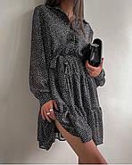 Ультрамодне легке плаття з довгим рукавом і воланом знизу, 00861 (Чорно-білий), Розмір 44 (M), фото 3