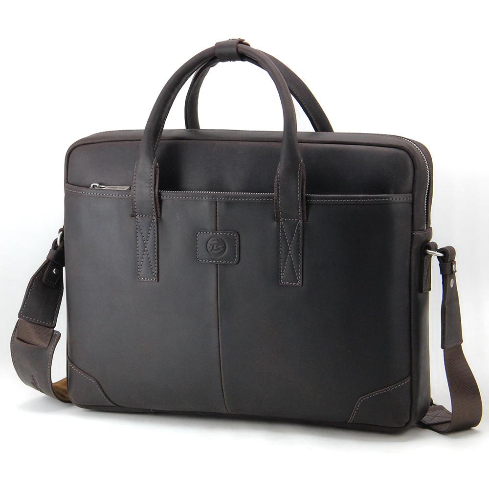 Сумка кожаная для ноутбука 15,6', MackBook 16' Tom Stone коричневая 717 CBR