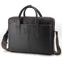 Сумка кожаная для ноутбука 15,6', MackBook 16' Tom Stone коричневая 717 CBR, фото 1
