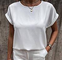 "Стильная летняя женская блузка ""Капля"". Цвет: чёрный, белый, оранж, малина. Размер: 42-46, 48-50."