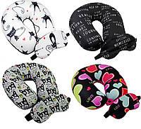 Дорожная подушка под шею + маска для сна антистрес 30х30 велюр принт в ассортименте