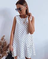 Женское летнее свободное платье. Размеры: 42-46. Цвет: беж в горох, белый, чёрный, белый в горох