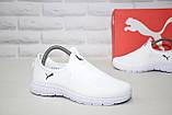Лёгкие белые кроссовки сетка без шнурков  в стиле Puma, фото 2