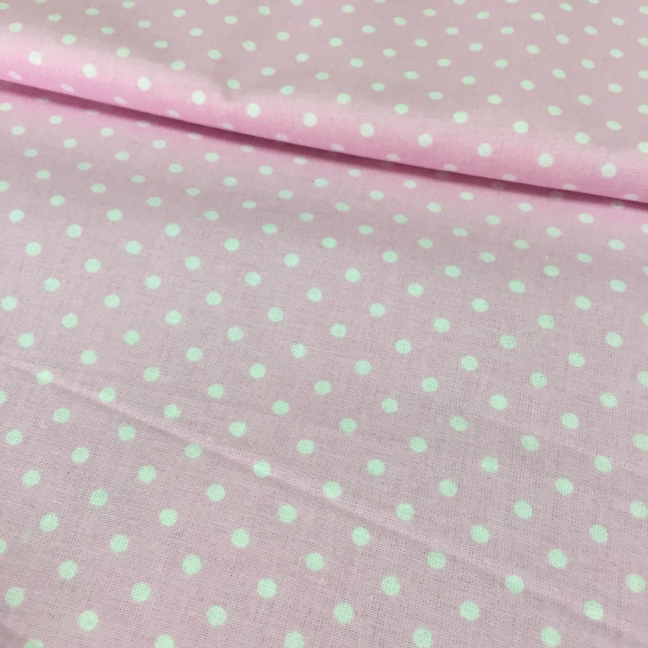 Ранфорс Розовый в белую точку 220см.