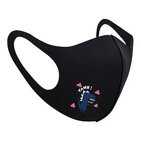 Захисна маска Pitta Black Dino PT-B, розмір: підлітковий, чорна
