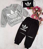 Костюм в комплекте с маской Adidas для мальчика 2-6 лет,светло-серый с черным