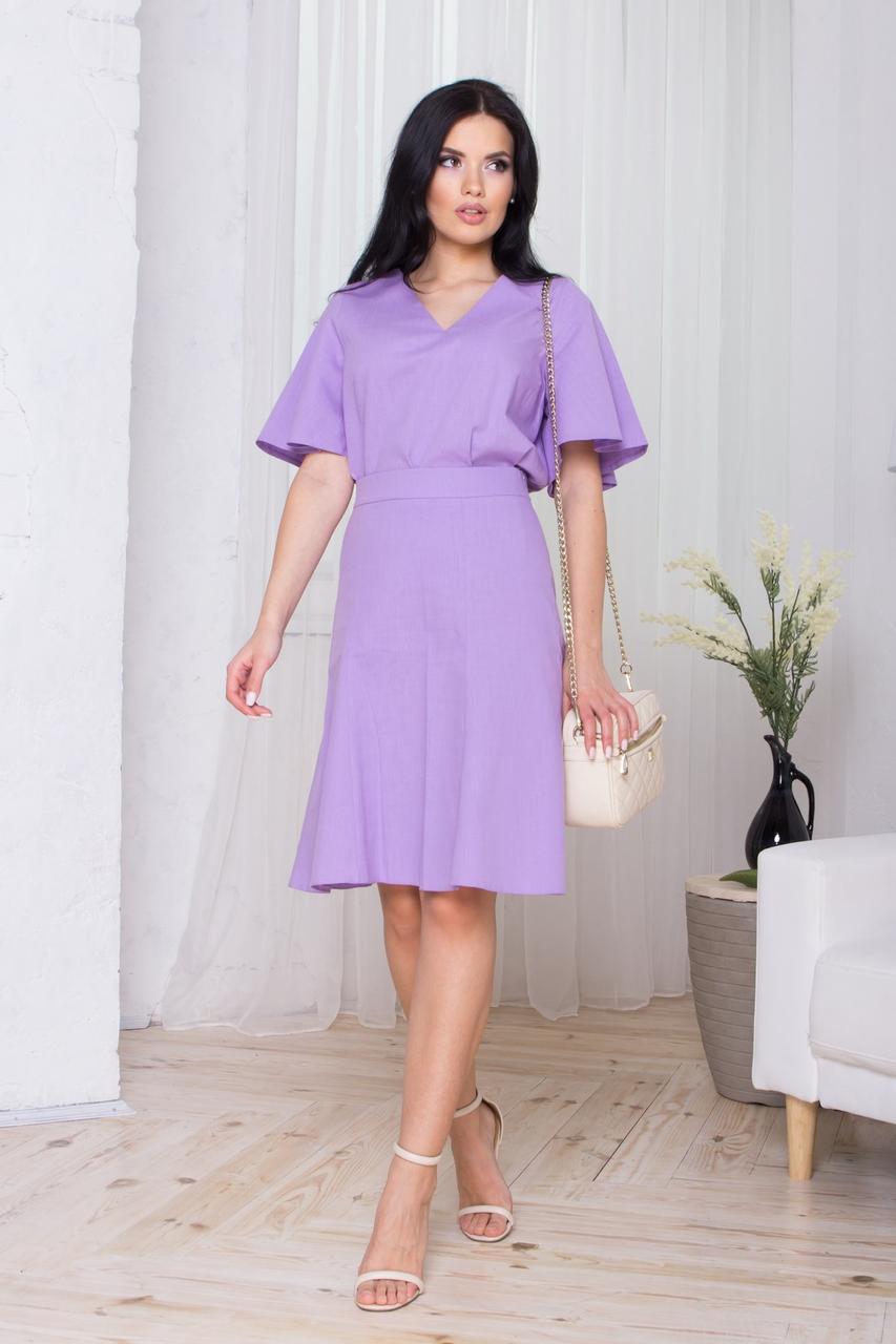 Льняний річний комплект блузка і спідниця, турецький льон. Фіолетовий колір