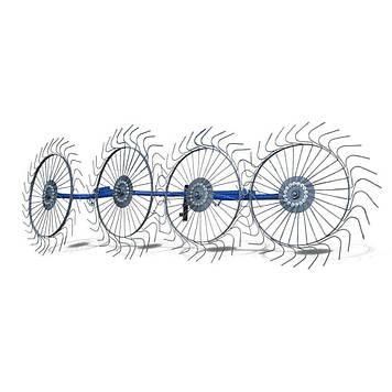 Граблі ворушилки для мотоблоки навісний 4-х колісні (заводські ГОСТ, граблина 5мм) порошкове фарбування