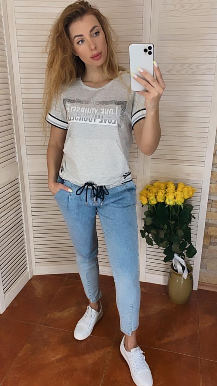 Женский летний костюм с джинсами (Турция); разм  44 46 (баталы) и норма С М