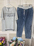 Жіночий літній костюм *Печатка* з джинсами ,(Туреччина); розм 50,52,54,56 (наші розміри), фото 2
