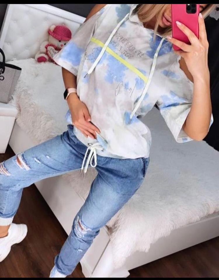 Жіночий літній костюм з джинсами *Cignet* (Туреччина); розмір С,М,Л,ХЛ